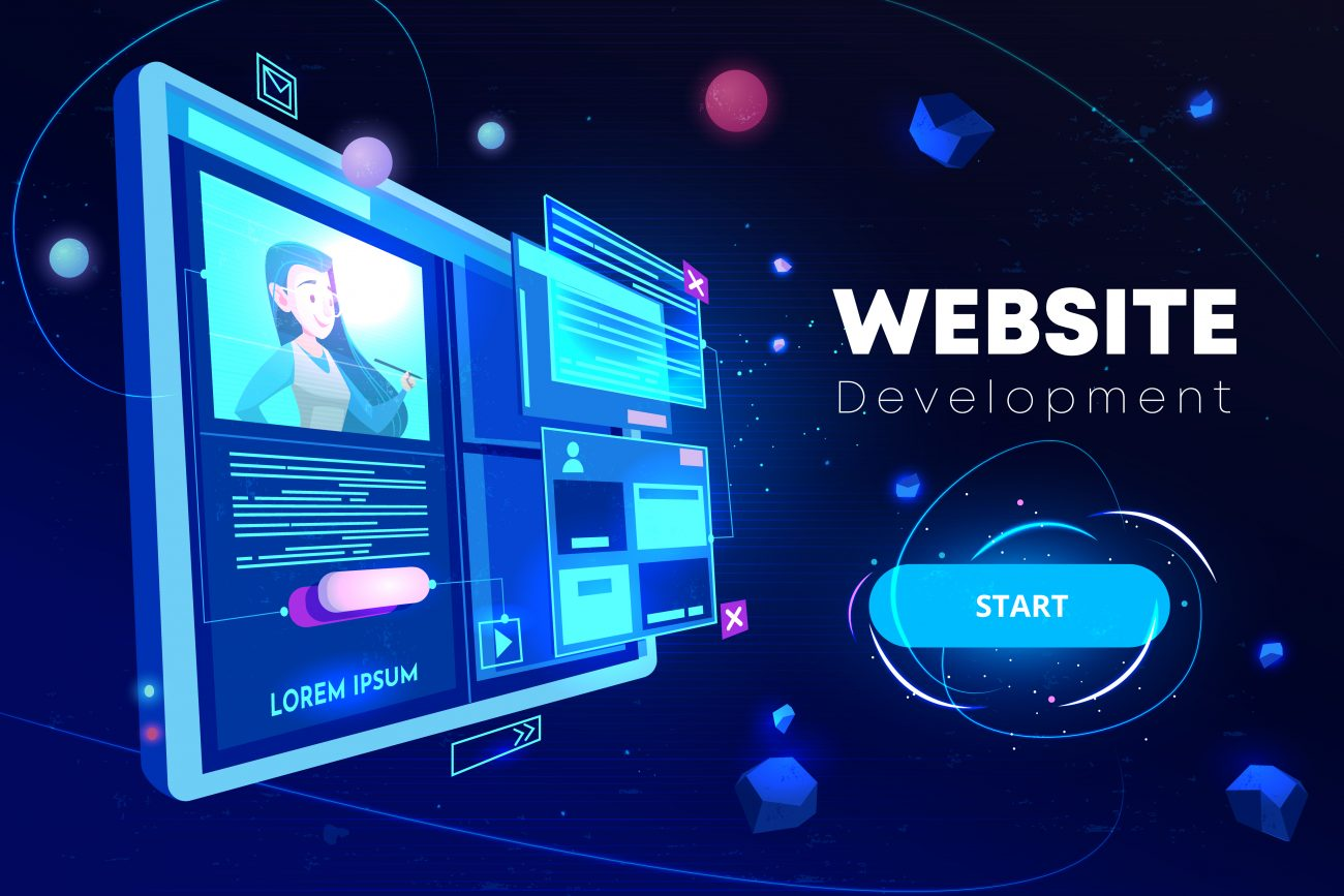 Website development banner, computer technology, monitor with open browser page and woman profile on screen, futuristic background in neon glowing colors. Cartoon vector illustration, landing page